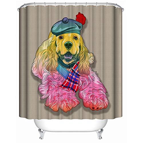 Amody Badewannenvorhang Textil Rosa Hund Duschvorhang Lustig Anti Schimmel Bunt 180x200CM Vorhänge In Bad (Ohne Matte) (Hunde Geld Tasche Kostüm)