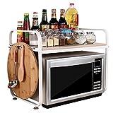 """Acciaio bianco a piani """"w23.2d14.6h18.5"""" forno a microonde griglia da tavola cucina ripiani contatore e armadietto scaffale con 8ganci laterali WJG6047–2Wh"""