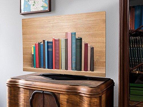 banjado screencover - Abdeckung für Ihren Flatscreen, Alle Zollgrößen möglich, Material Hartschaum weiß, mit Motiv Bücherregal, Größe 40'' TV (101cm x 61cm)