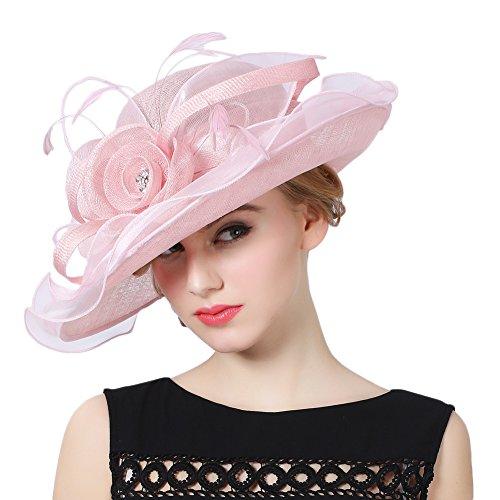 Damen-ascot (Koola's hats Damen 3 Schichten Sinamay Hochzeit Hüte Sonnenhut Ascot-Rennen Derby Hut Kirche-Hüte Partyhüte (Pink))