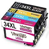 Vmosgo 34XL Ersatz für Epson 34 34XL Druckerpatronen Hohe Kapazität Kompatibel mit Epson Workforce Pro WF-3720DWF WF-3725DWF (1 Schwarz, 1 Cyan, 1 Magenta, 1 Gelb)