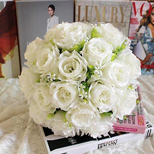 LuckyGirls Unechte Blumen,Künstliche Deko Blumen Gefälschte Blumen Seidenblumen Rosen Blumen 18 Köpfe Hochzeit Bouquet für Home Garden Party Hochzeit Dekoration (Weiß) (Bulk Künstliche Rose)