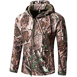 YFNT Manches Longue à Capuche Camouflage Softshell imperméable Homme pour Camping Chasse pêche
