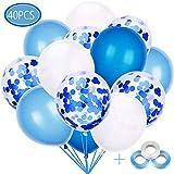 BluVast 40 Pezzi Palloncini Azzurri, Palloncini di Coriandoli,Palloncini Bianchi,Party Balloon per Matrimonio, Compleanno, Baby Shower, Laurea, Cerimonia Party Decorazioni (12 Pollici)