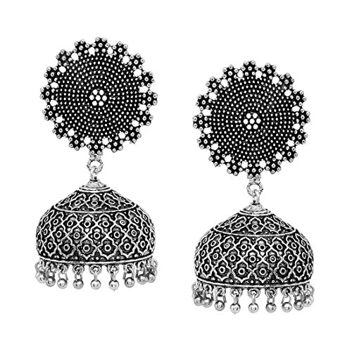 V L IMPEX Bollywood Fashion New Trendy Silver Plated Jhumka Jhumki Earrings