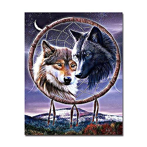 PAINTYTY Bricolaje Lobos Indios Nativos Americanos Pintura por Números Kits Colorear Atrapasueños Óleo Imágenes Mano Pintura sobre Lienzo Decoración para El Hogar