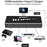 Farraige Latest Ultra Premium HDMI Switch 4 Port With Remote Control, UHD 2K 4K Support, Full HD 1080P, 3D, Switch Splitter With Remote Control, HD Audio For Nintendo Switch, Xbox One, Roku 3, HD TV XBox PS3 PS4, 4 In 1 Out, Latest 2018 Edition, 1 Year Wa