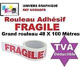 1 Rouleau Adhésif FRAGILE - 48 X 100 MÈTRES- (40% de plus que les 66 mètres)- rouleau pour emballage, expédition - ruban adhésif de haute qualité idéal pour carton, emballage, expédition et stockage marque UNIVERS GRAPHIQUE référence UGRADFR