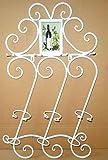 JASNO Schmiedeeiserne Wein Ständer Wand-Ablage Regal auf Dem Kopf auf Tasse Halter Halten bis Zu 4 Becher 3 Flaschen,White