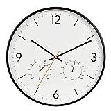 Vinteen Multifunktionswanduhren Kunststoff Digital Design Slient Hängende Uhren Mit Temperatur Und Feuchtigkeit Meter Metall Mute Wanduhr Horologe (Color : Black)