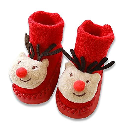 aiuxuan Baby Weihnachten Boden Socken Weihnachten Santa Tree Deer Unisex Kinder Baumwolle Rutschfeste Socken (Weihnachten Dree)