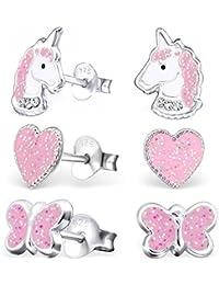 GH1a 3 PAAR Glitzer Ohrstecker Einhorn + Herz + Schmetterling 925 Echt Silber Mädchen Kinder Ohrringe
