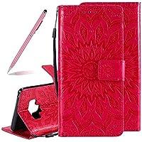 SKYXD Luxus Elegant Prägung Sonnenblume Einfarbig Muster PU Leder Hülle für Samsung Galaxy Note 9, 3D Retro Schöne Mandala Floral Geprägtes Brieftasche Standfunktion Magnetverschluss Etui(Rot)