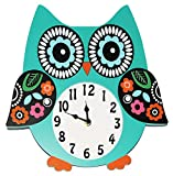 lustige Eule - Wanduhr aus Holz - 29 cm groß Uhr - für Kinderzimmer