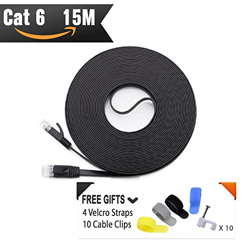 Cable de red Ethernet Cat6 15 Metros Negro (Al Precio de Cable Cat5e pero Mayor Ancho de Banda) Cables Cat 6 Planos para redes de Internet, LAN Gigabit de Alta Velocidad para Enrutadores/Módems