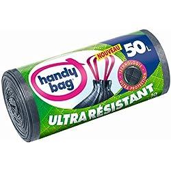 Handy Bag 1 Rouleau de 10 Sacs Poubelle 50 L, Poignées Coulissantes, Ultra Résistant, Anti-Fuites, Gris Foncé, Opaque