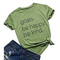 FAYALEQ Be Happy Be Kind T-Shirt Women's Letter Print Funny Cute Mom Tee Tops Blouse Size S (Green)