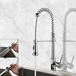 Professional Single Lever Chrome Spring Pre-rinse Pull Out Sprayer Kitchen Taps, Commercial Deck Mounted Kitchen Pull Down Taps
