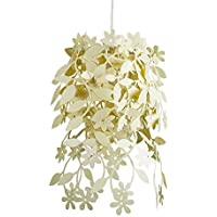 Beautiful Light Yellow Cream Floral Flowers And Leaves Dropping Chandelier Ceiling Pendant Light Shade