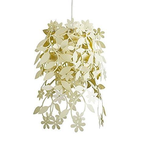 MiniSun – Schöner und moderner Lampenschirm mit einem cremefarbigen Finish und mit hängendem Blumen- und Blütenmotiv – für Hänge- und (Kronleuchter Mit Lampenschirm)
