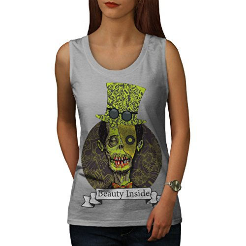 Mann Zombie Schönheit Tot schaurig Gruselig Damen S-2XL Muskelshirt | Wellcoda Grau