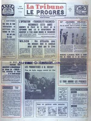 TRIBUNE LE PROGRES (LA) [No 39624] du 07/07/1975 - DE LA CRISE ECONOMIQUE A LA CIRSE MORALE - LE DIAGNOSTIC D'UNE EPIDEMIE - L'ASSASSINAT DU JUGE RENAUD - LE RESEAU CARLOS - LES POLICIERS DE 5 PAYS A LA RECHERCHE D'UN SUD-AERICAIN ET D'UN JAPONAIS - ARGENTINE - PAIN ET FARINE RATIONNES - LUTTE ANTI-POLLUTION EN HAUTE-LOIRE - LES SPORTS - LE TOUR DE FRANCE ET GIMONDI ET VAN IMPE - VIOLENT RAID ISRAELIEN SUR LES CAMPS PALESTINIENS DU SUD LIBAN
