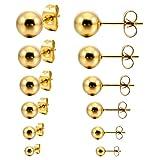 MunkiMix 3~8mm 12 PCS Edelstahl Gestüt Stecker Ohrringe Ohrstecker Ohrhänger Golden Ton Kugel Kugel Perle Perlen Set (6 Paar) Herren,Damen
