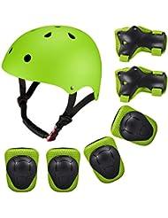 Protecciones Infantiles Deportivas Patinaje Bicicleta Para Niños SKL Casco Tamaño Ajustable Deportivos Bicicleta, Monopatín, Skate, Patines BMX (Verde)
