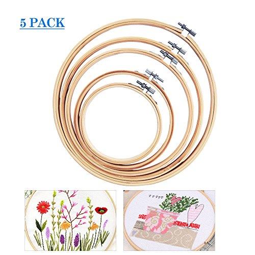 Basein cerchi da ricamo, set da 5 pezzi bamboo set da ricamo a punto croce set da ricamo a cerchio regolabile per arti fai-da-te, artigianato, cucito, 5 dimensioni