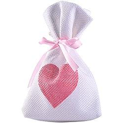 Bolsas de lino dibujo de corazón de lino tono rosa - 12 unidades