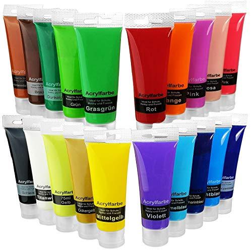 Hochwertige Acryl-Farbe-Set bunt - 20 x 75ml Tube Set - hoher Anteil an Farb-Pigmenten, hoch-deckend & schnell-trockend - starke Farbkraft - Farbset Hobby-Künstler bis Profis - Acrylfarben Wasserbasis