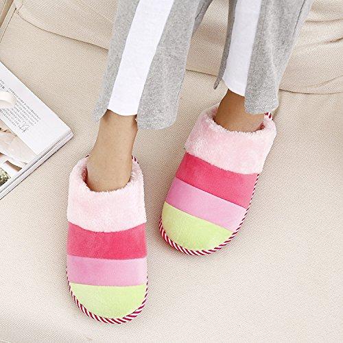 DogHaccd pantofole,Autunno e Inverno paio di pantofole di cotone caldo più strisce di velluto e pacchetti Home cotone pantofole pavimento femmina home pantofole Rosa3