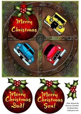 Feuille A4 pour confection de carte de vœux - Car Lovers Merry Noel Steampunk Wheel for male papa son par Christine Crow...