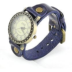 Armbanduhren Quarz Analog Arabisch Ziffern Leder Modeschmuck Uhr Damen Herren Unisex rund Klassisch Yolan Blau Geschenk Unisex