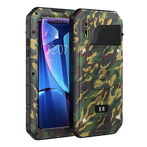 Beeasy Hülle Kompatibel mit iPhone XR, [Wasserdicht] Stoßfest Outdoor Handy Case Militärstandard Schutzhülle mit Displayschutz Robust Metall Schutz vor Stürzen Stößen Heavy Duty Handyhülle,Camo
