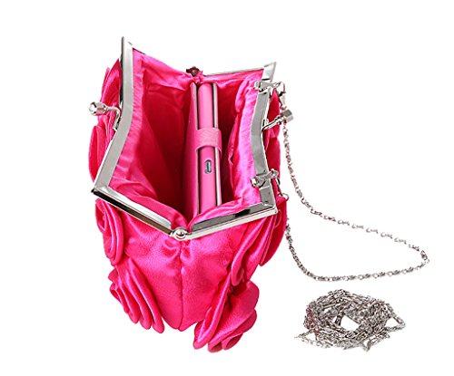 Heyjewels Elegant Rose Blumen Brauttasche Clutch mini Makeup Tasche Verschiedene Farben Fuchsia
