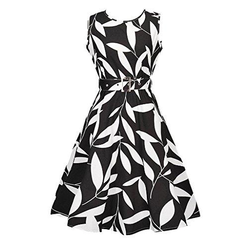 MNBS Femme Robes Vintage à 'Audrey Hepburn' Classique 1950S Style Ourlet Noir
