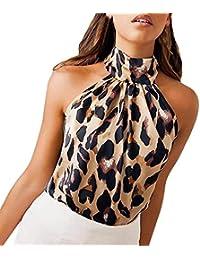 Camisetas sin Mangas Mujer SHOBDW Playa De Verano Estampado De Leopardo Cuello Halter Camisas De Chaleco Club Fuera del Hombro Blusa De Las Señoras Fiesta Nocturna Cami Tops para Mujeres