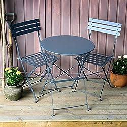 Lazy Susan Alessia Ensemble bistrot - Gris | Table Pliante avec chaises Assorties
