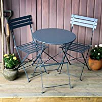 Juego de mesa de jardín Alessia, mesa de metal plegable con sillas a juego