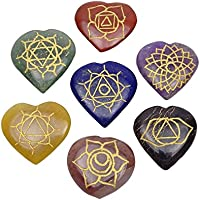 HARMONIZE 7 Multistone Herzform Set Chakra Symbol Reiki Kristall Feng Shui Geschenk Tischdekoration preisvergleich bei billige-tabletten.eu