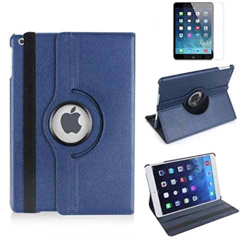 G4GADGET® Premium Quality NavyBlue Horizontal & Vertical View Leather Cover For Apple iPad Air
