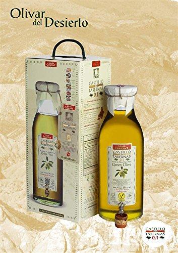 Botella GREEN OLIVE 5 Liter | Spanisches Olivenöl | Grüne Oliven | Castillo de Tabernas | mit natürlichen Säure von 0,1% | Vegan | Designer Magnumflasche mit Auslaufhahn verpackt in einer Einzelbox zum verschenken