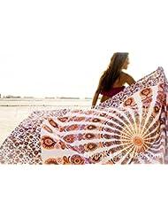 WDBS Serviette de plage ronde, tapis de yoga, châle de soleil de plage, jupe enveloppée