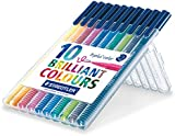 Staedtler Triplus Colour 323 SB10 Fibre-Tip Pen Desktop Box - Assorted Colours (Pack of 10)