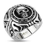 Autiga Totenkopf Ring Siegel Shield Edelstahl Massiv Biker Gothic Silber Herren Männer Silber 64 - Ø 20,57 mm