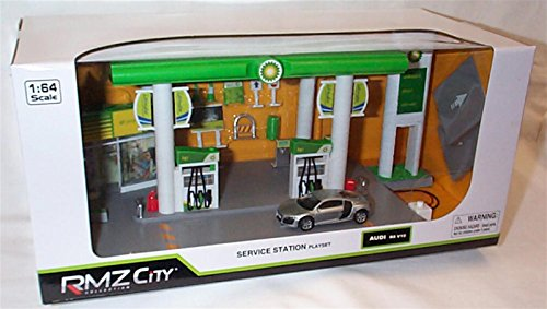 rmz-city-collection-bp-service-station-with-working-lights-and-sound-plus-comes-with-silver-audi-r8-