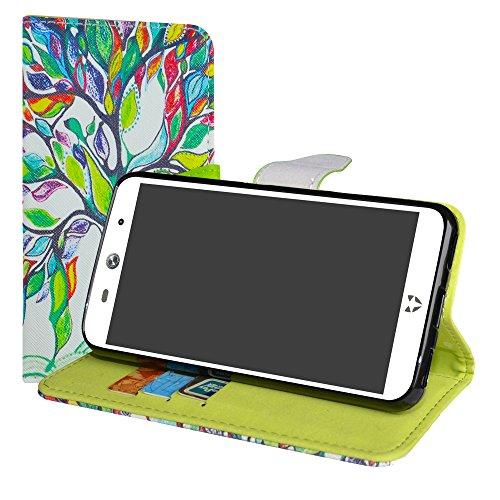LiuShan WileyFox Swift 2 / Swift 2 Plus Hülle, Brieftasche Handyhülle Schutzhülle PU Leder mit Kartenfächer und Standfunktion für WileyFox Swift 2 / Swift 2 Plus Smartphone,Love Tree