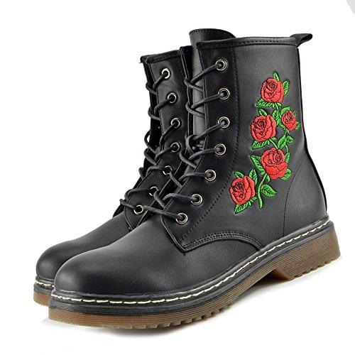 Kick Footwear - Botte De Combat Rétro À La Cheville Pour Femme Bottine Funky Vintage Goth Femme Black Rose