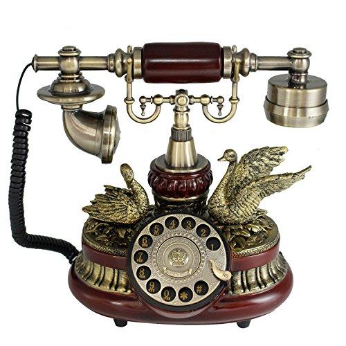 tikwisdom Gorgeous Vintage Dial rotatorio teléfono teléfono antiguo de madera maciza y en comparación con resina de estilo europeo teléfono fijo